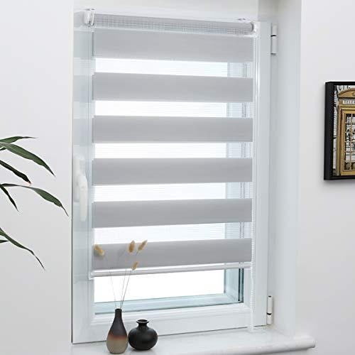 Grandekor Doppelrollo Duo Rollo Klemmfix ohne Bohren lichtdurchlässig und verdunkelnd Fensterollos Sonnenschutz für Fenster und Tür - Hellgrau - 70x120cm (BxH) / Stoffbreite 66cm