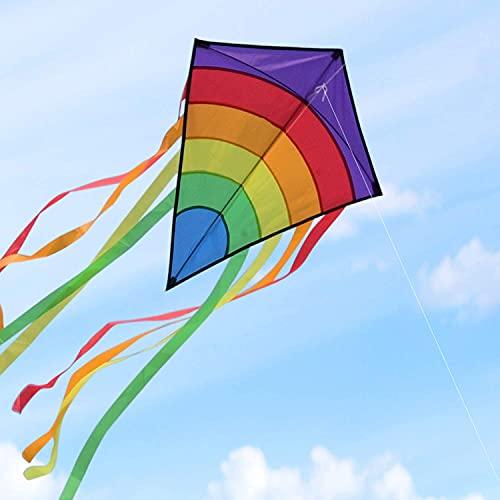 Drachen Flugdrachen Einleiner, Homegoo Easy Flyer Regenbogendrachen Bastelset für Erwachsene Leichtes Fliegen im Freien bei starkem oder leichtem Wind 74 * 65cm