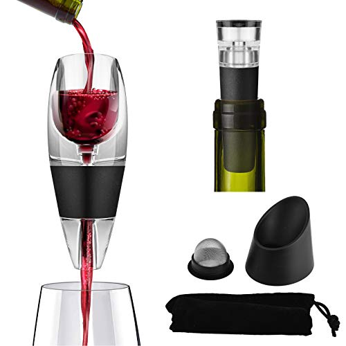 Wine Aerator Decanter Pourer with Vacuum Wine Stopper, Red Wine Air Aerator Set with Strainer, Base, Travel Bag