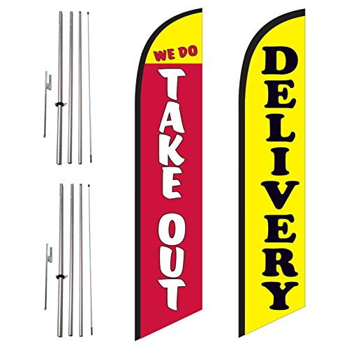We Do Take-Out and Delivery 2 Pack of Restaurant Advertising Feather Banner Swooper Flag Sign with Flag Pole Kit and Ground Stake, Curb Side Signs