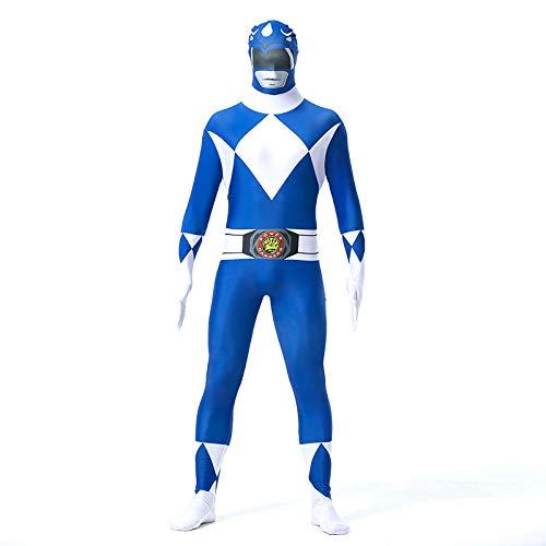 FYBR - Costume per Bambini Mighty Morphin Power Ranger SuperSkin – Unisex, per Ragazzi e Ragazze, seconda Pelle di Zentai, Abbigliamento per Halloween, Lycra, Blu, Extra Large