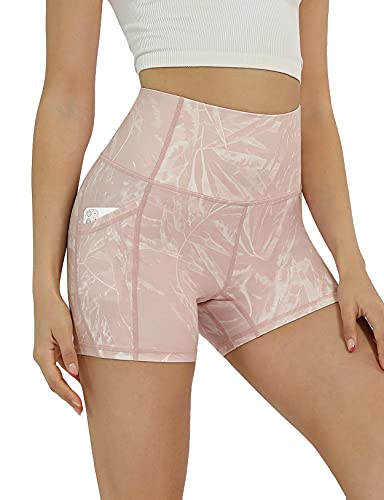 """ODODOS Women's 5"""" High Waisted Pattern Biker Shorts with Pocket, Tummy Control Non See Through Workout Exercise Printed Running Yoga Shorts, Plus Size, Pink Tropical, XXX-Large"""