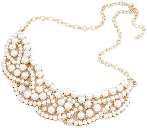 Necklaces for Women, Jewelry for Women Fashion Faux Pearl Hollowed Golden Alloy Choker Bib Collar Necklace Unique Gifts