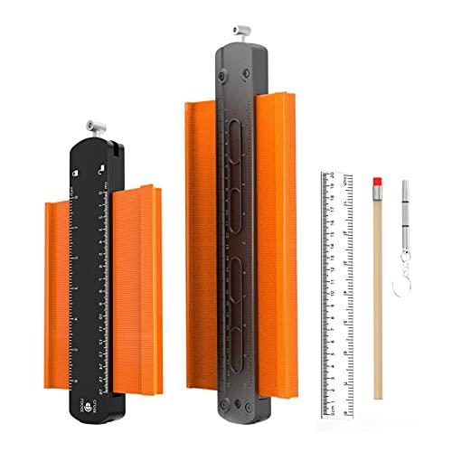 Allowevt Herramienta de Perfil de Calibre con Cerradura Herramienta de Forma de Metal de Calidad de construcción para Contorno rápido de Esquina Duplicador de medición Ancha para Formas Appealing