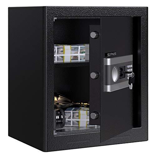 Cassaforte a Muro/da Armadio, SLYPNOS Cassaforte da 43 L, Serratura Cisa Elettronica incluso Batterie/Chiavi per Apertura d'Emergenza/Piano Mobile, 38x31x45cm, Elettromagnete Antiurto