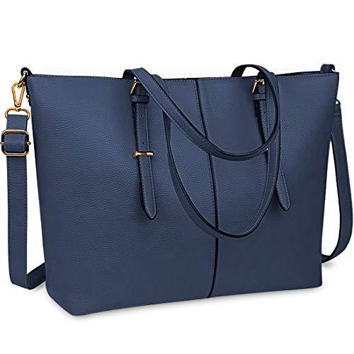 Laptop Tote Bag for Women 15.6 Inch Waterproof Lightweight Leather Computer Laptop Bag Women Business Office Work Bag Briefcase Large Travel Handbag Shoulder Bag Navy Blue