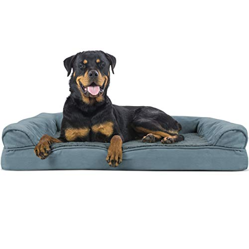 Furhaven Pet Dog Bed - Orthopedic Ultra Plush Faux Fur and Suede Traditional Sofa-Style Living Room Couch Pet Bed with Removable Cover for Dogs and Cats, Deep Pool, Jumbo
