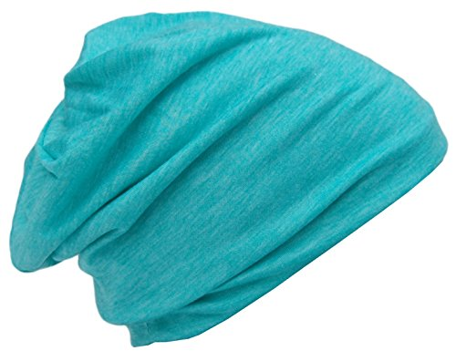 Cool4 Zomer Beanie turquoise gemêleerd vintage longbeanie lange muts Slouch Beanies zomer chemo SB11