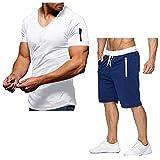 YSYOkow Conjunto de 2 piezas para hombre de manga corta, pantalones con cordón, pantalones para correr, casual, entrenamiento, ropa deportiva