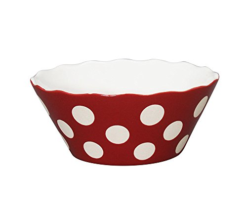 Krasilnikoff Happy Bowl–Frutero Small Rojo Lunares h7,5cm