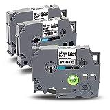 Exsun 3x Etichette Sostituzione per Tze Tz Nastro 12mm 0.47 Tze231 Tze-231 Nero su Bianco Laminato Cassetta per Brother P-Touch PT-H110 PT-P300BT PT-D210 GL-H100 PT-E100 PT-H101C PT-H200, 12mm x 8m
