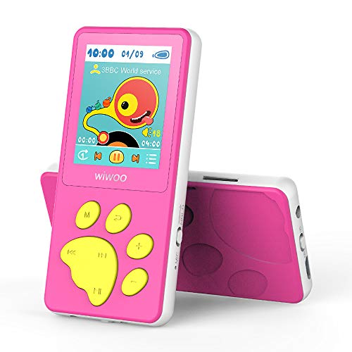 Wiwoo MP3 Player for Kids, Portable Music Player with FM Radio Video Puzzle Games Sleep Timer Voice Recorder E-Book,Bear's Paw Button MP3 Player for Children as a Festival Gift, Pink