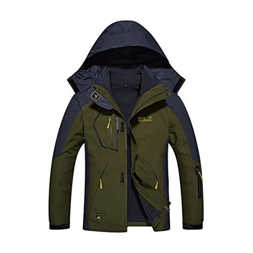 Veste Fonctionnelle Imperméable pour Hommes en Molleton de Montagne Coupe-Vent Veste de Ski Chaude Manteaux à Poches Multiples,Green-B,XXXXXXXXL(190-195cm)