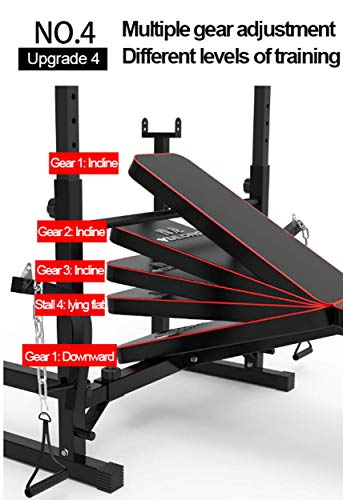 Adjustable Weight Bench,Weight Lifting Bench with Shelf,Multifunction Weight Bench Weightlifting Rack Decline Incline,Bench Press(Excluding Barbell)