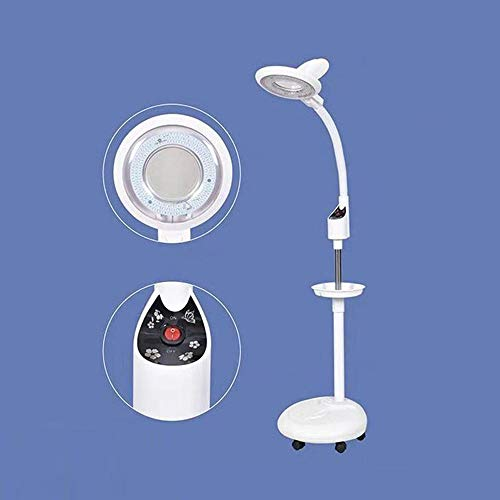 8X Lámpara de lupa,Estética Profesional Guardapolvo Libremente Ajustable Altura Usado para Médico Bordado Laboratorio Cosmetólogo Luz fría LED Sin Sombras Lámpara de piso Amplificadora White-24W