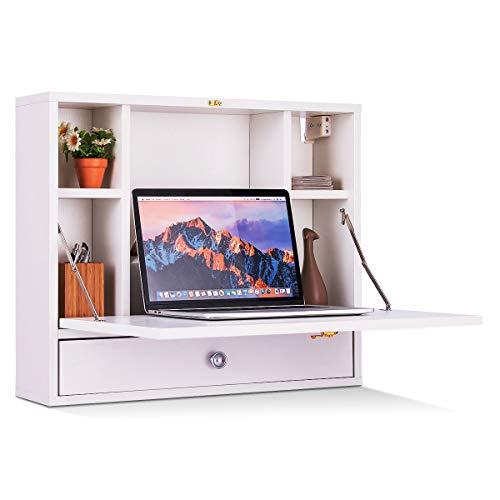 GOPLUS Wandklapptisch mit Regal, Arbeitstisch für PC Computer, Wandschrank Ausklappbar, PC-Schreibtisch Modern, Computertisch Platzsparend, Laptoptisch Holz Braun/Weiß (Weiß)