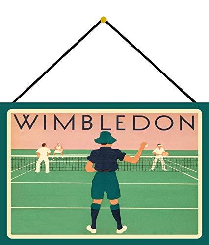FS Wimbledon Tennis Sport Targa in metallo bombata 20 x 30 cm con cordino