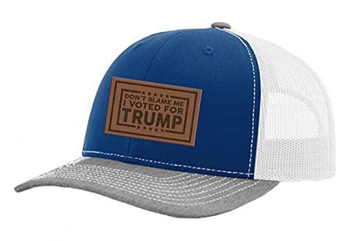 """Trenz Shirt Company Boné de caminhoneiro """"Don't Blame Me I Voted for Trump"""", bordado de couro, Royal/cinza mesclado/branco, One Size-X-Large"""