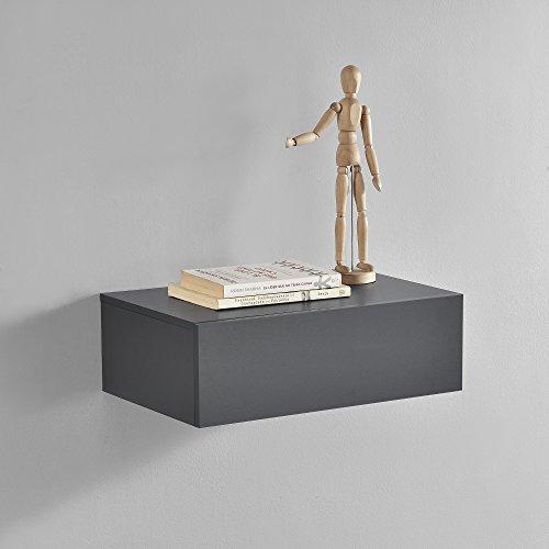 [en.casa] Mesita de Noche de Pared con un cajón - Gris Oscuro - 46x30x15cm