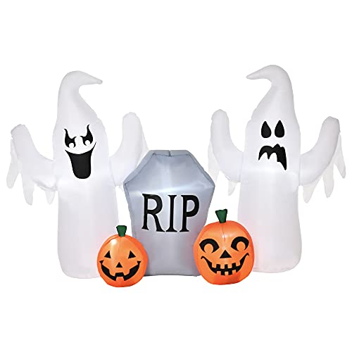 HOMCOM Fantasmas Inflables para Halloween con Luces LED Decoración Hinchable de Halloween para Interiores Exteriores Fiestas 182x57x122 cm Multicolor