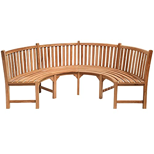 Teako Design Parkbank Gartenbank Rundbank Rom Teak Massivholz in verschiedenen Größen (Durchmesser 240 cm 180°)