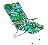 1 COJIN Tumbona Acolchada. COJIN Silla de Playa con Respaldo y Almohada. Cojín Mecedora. Varios tamaños y Colores. (Flores y Ramas, 150 x 55 cm)