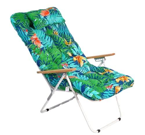 1 COJIN Tumbona Acolchada. COJIN Silla de Playa con Respaldo y Almohada. Cojín Mecedora. Varios tamaños y Colores. (Flores y Ramas, 120 x 55 cm)