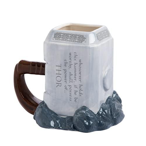 Qiuerte Tazas de café Marvel Thor de 600 ml y tazas de cerámica con forma de martillo de gran capacidad para bebidas creativas, regalos Perfet