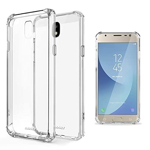 Moozy Cover Silicone Trasparente per Samsung J3 2017 - Custodia Antiurto, Crystal Clear Case, TPU Morbido