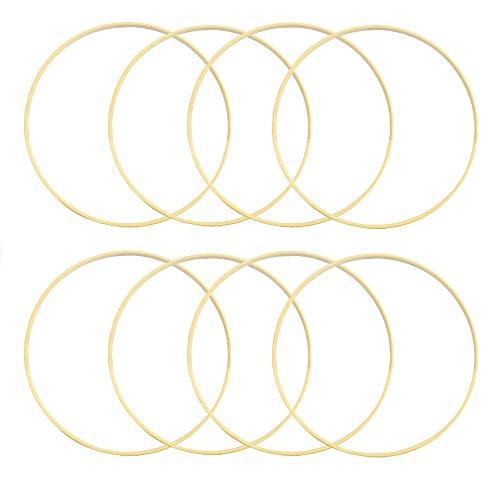 Sweieoni 10 Stücke Kranz Ringe DIY Handwerk Dreamcatcher Runde Hoop Ring, Holzringe Zum Basteln, Hochzeitskranz Dekor und Wandbehang Handwerk 15cm Bambusring