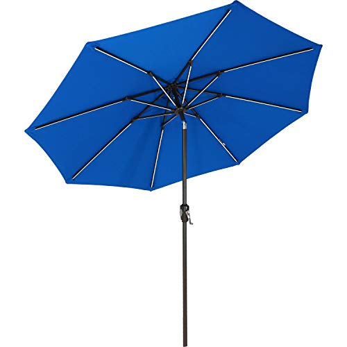 Sunnydaze Sunbrella Patio Umbrella with Solar Lights - 9 Foot Tilting Outdoor Market Umbrella for Pool, Deck, Garden, Porch, or Yard - LED Light Bars and Sunbrella Material - Pacific Blue