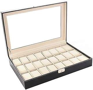 THERESA 24 Pcs Watches Jewelry Storage Box Organizer Case (Black)