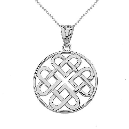 Women's 10k White Gold Endless Celtic Knot Heart Infinity Pendant Necklace, 18'