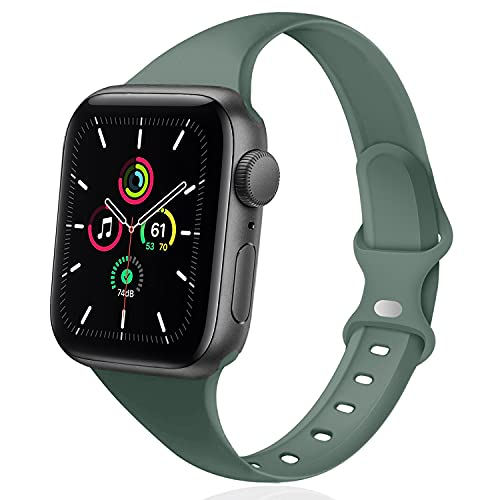 DYKEISS Sport Slim Silicone Band Compatible for Apple Watch Band 38mm 42mm 40mm 44mm, Thin Soft Narrow Replacement Strap Wristband for iWatch Series 5/4/3/2/1 Women & Men (Pine Green, 38mm/40mm)