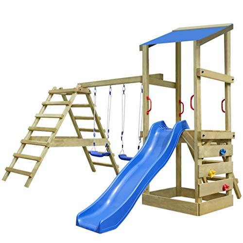 vidaXL Casetta gioco da esterno in legno scale scivolo altalene 356x255x235 cm