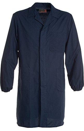 Camice 190 Da Lavoro Collo Aperto Chiusura a Bottoni Elastico ai polsi Tasche, Colore: Navy, Taglia: XL