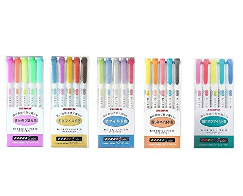 Zebra Mildliner Mild Liner Highlighters 5 x 5 Set (Total 25)