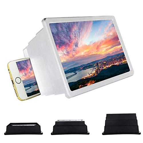 WANGIRL Mobile 12'' Screen Magnifier Smartphone Magnifying Glass Retractable HD Screen Amplifier Bracket Enlarger Screen for Mobile Phone 3D Home Cinema Cellphone Projector Universal (Color : White)