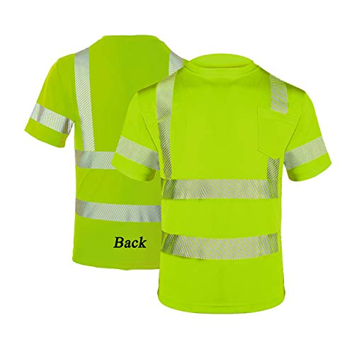 FONIRRA Hi Vis Safety T Shirt with Pocket for Men Work ANSI Class 2 Reflective Short Sleeve(Yellow,L)