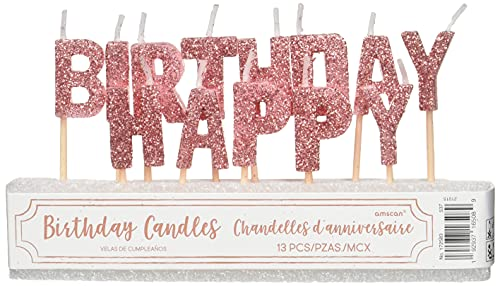 Happy Birthday Letter Pick Candles   Glittery Pink   13 Pcs