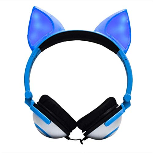 FAGavin Auricular For Juegos Plegable Intermitente Que Brilla Auriculares Gaming Headset Auricular con Luz LED For El Teléfono Móvil, Tablet PC, Portátil (Negro) (Color : Blue)