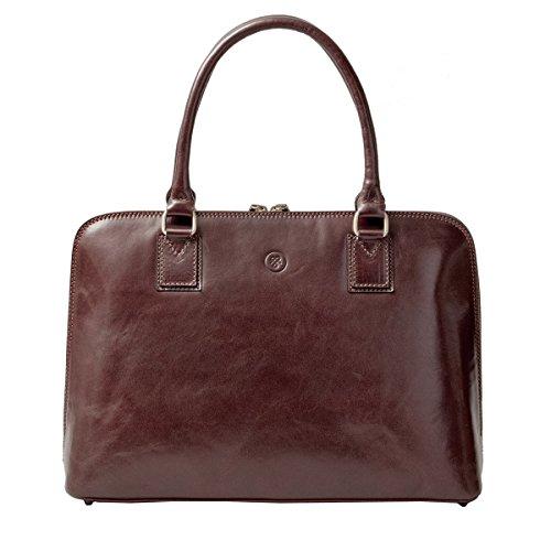 Maxwell Scott® luxe Italiaanse lederen dames werktas (Fiorella), donkere chocolade