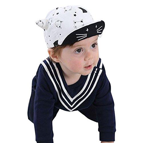 Mamum Enfants Enfants Dessin Animé Printemps Et L'été De Baseball Chapeau Garçons Garçons Filles Chapeaux (Blanc)