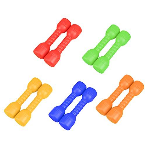 BESPORTBLE 10Pcs Attrezzature per Esercizi per Bambini Manubri in Plastica Bilancieri Strumenti di Allenamento per La Scuola Primaria (Verde/Giallo/Arancione/Rosso/Blu)