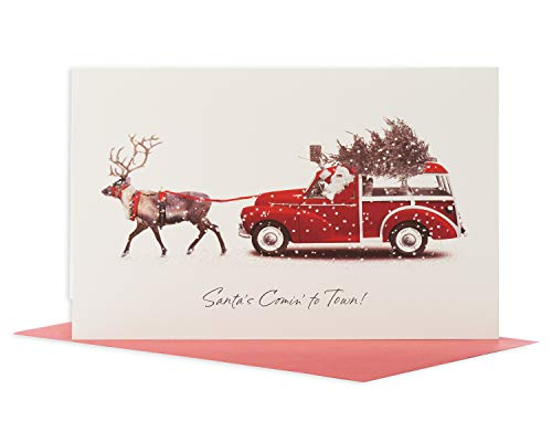 American Greetings Deluxe Christmas Cards Boxed, Deer Pulling Station Wagon (14-Count)