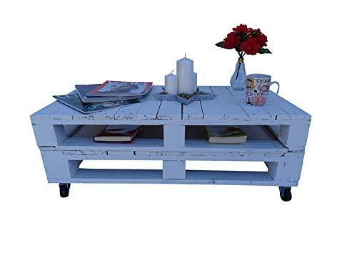 Mesa de Palets Pintada en Color Blanco Mate - Mesitas & Mesas Modernas de Centro & Auxiliares de...