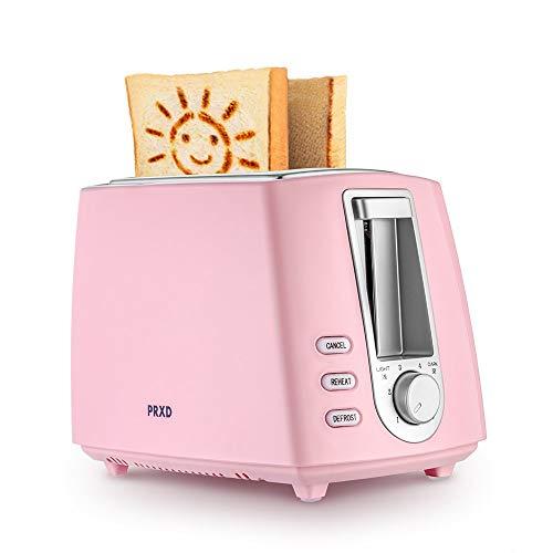 JINRU Verbesserte Version Schönes Smiley-Muster 2-Scheiben-Toaster 6 Muster halten warm Smart Toast (Pink)