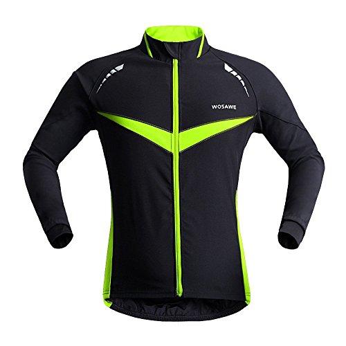 Wolfbike Fahrradjacke Trikot Weste Windjacke Windjacke Outdoor-Sportbekleidung, Unisex, Schwarz / Grün, Small