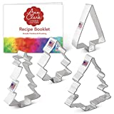 Ann Clark Cookie Cutters 4-Piece Christmas and Holiday Tree Cookie Cutter Set with Recipe Booklet