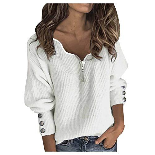 Blusa de Mujer de Moda Color Sólido Camiseta de Manga Larga con Cremallera y Cuello en V de Patchwork Tops
